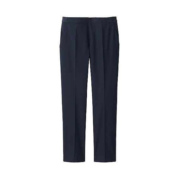 Women Ankle Length Trousers (Size Xxl) Navy - length: standard; pattern: plain; waist: mid/regular rise; predominant colour: navy; occasions: casual, work, creative work; fibres: polyester/polyamide - stretch; fit: straight leg; pattern type: fabric; texture group: woven light midweight; style: standard; pattern size: standard (bottom); season: a/w 2015; wardrobe: basic