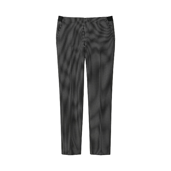 Women Ankle Length Print Trousers (Size Xxl) Black - length: standard; pocket detail: pockets at the sides; waist: mid/regular rise; secondary colour: white; predominant colour: black; occasions: casual, creative work; fibres: polyester/polyamide - stretch; trends: monochrome; texture group: cotton feel fabrics; fit: straight leg; pattern type: fabric; pattern: patterned/print; style: standard; pattern size: light/subtle (bottom); season: a/w 2015