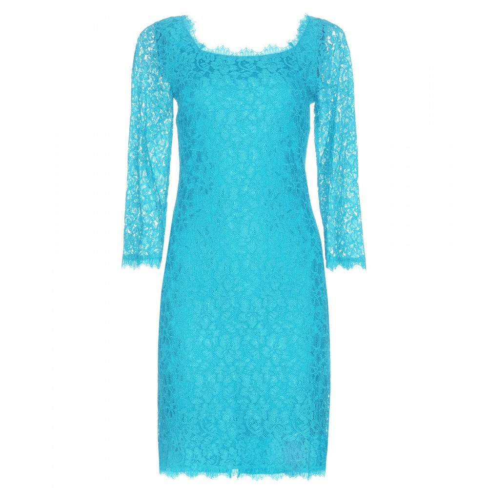 Zarita Lace Dress - style: shift; neckline: round neck; fit: tailored/fitted; pattern: plain; predominant colour: turquoise; occasions: evening; length: just above the knee; sleeve length: 3/4 length; sleeve style: standard; texture group: lace; pattern type: fabric; fibres: viscose/rayon - mix; season: a/w 2015