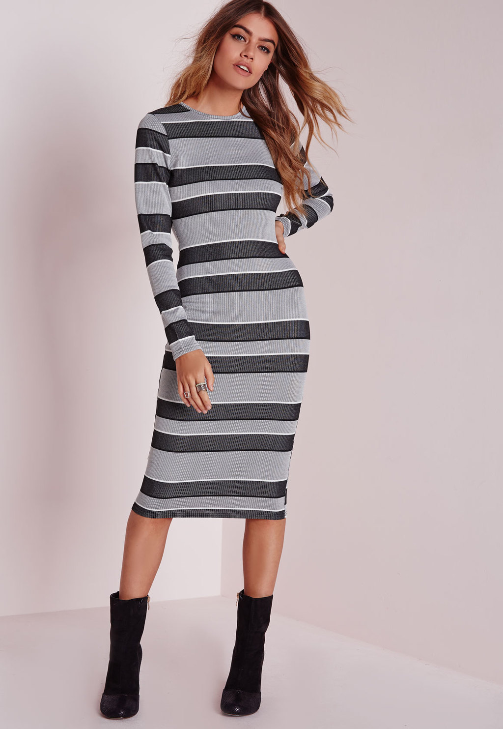 Long Sleeve Midi Dress Grey Stripe, Grey - length: below the knee; fit: tight; pattern: horizontal stripes; style: bodycon; hip detail: draws attention to hips; predominant colour: light grey; occasions: casual, evening; fibres: polyester/polyamide - stretch; neckline: crew; sleeve length: long sleeve; sleeve style: standard; texture group: jersey - clingy; pattern type: fabric; season: a/w 2015; wardrobe: basic