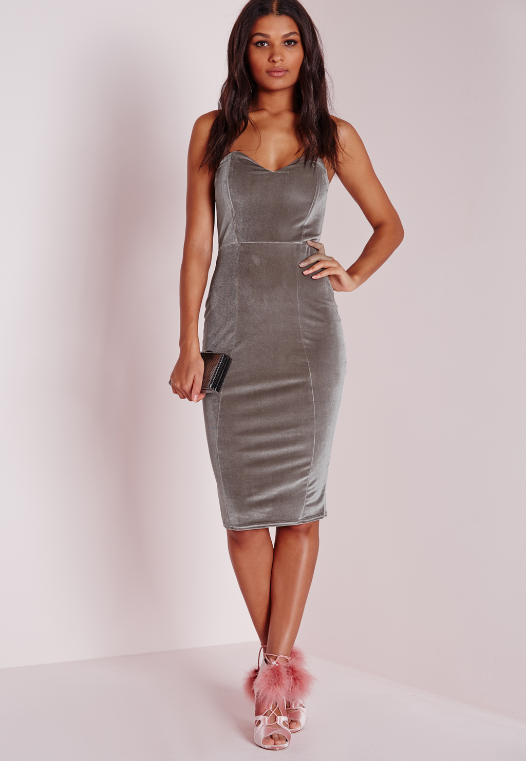 Velvet Bandeau Bodycon Dress Grey, Grey - neckline: v-neck; sleeve style: spaghetti straps; fit: tight; pattern: plain; style: bodycon; predominant colour: light grey; occasions: evening; length: on the knee; fibres: polyester/polyamide - stretch; sleeve length: sleeveless; pattern type: fabric; texture group: velvet/fabrics with pile; season: a/w 2015; wardrobe: event