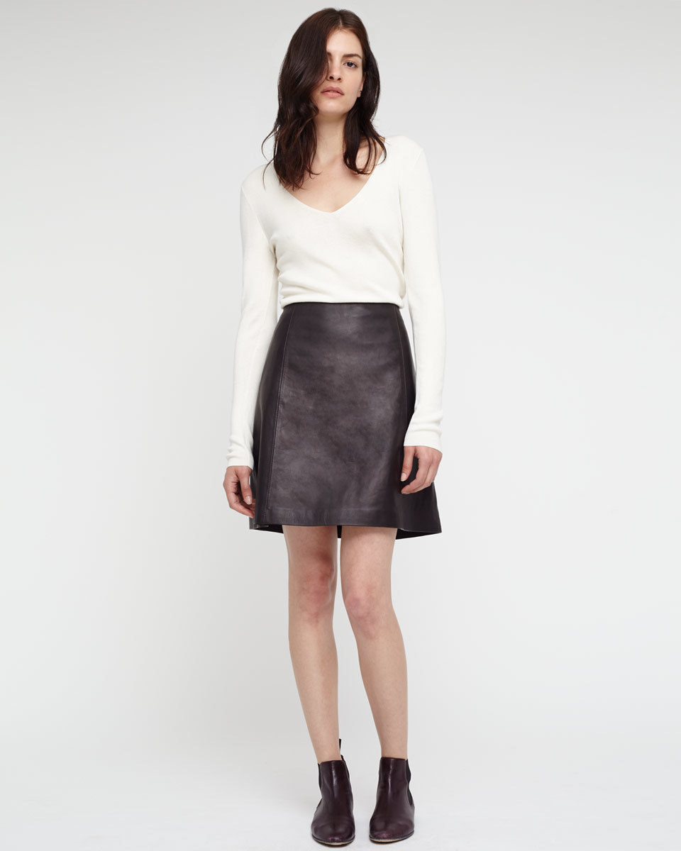 A Line Leather Skirt - length: mid thigh; pattern: plain; style: pencil; fit: loose/voluminous; waist: high rise; predominant colour: black; occasions: evening, creative work; texture group: leather; pattern type: fabric; season: a/w 2015