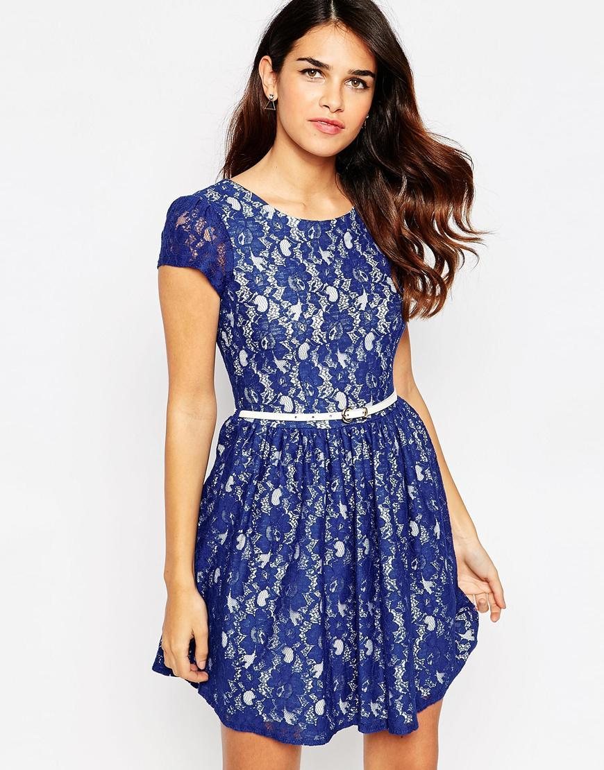 Closet Belted Lace Dress With V Back Blue - length: mid thigh; neckline: round neck; waist detail: belted waist/tie at waist/drawstring; predominant colour: royal blue; occasions: evening; fit: fitted at waist & bust; style: fit & flare; fibres: cotton - mix; hip detail: soft pleats at hip/draping at hip/flared at hip; sleeve length: short sleeve; sleeve style: standard; texture group: lace; pattern type: fabric; pattern size: standard; pattern: patterned/print; season: a/w 2015