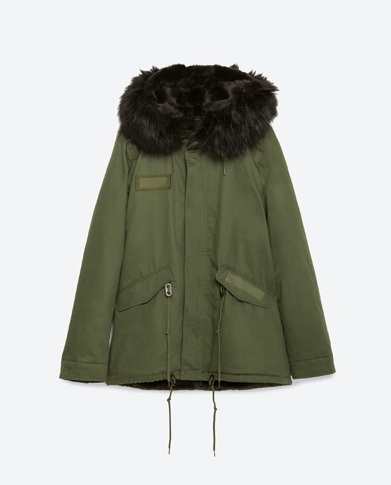 Hooded Parka - pattern: plain; length: below the bottom; style: parka; back detail: hood; collar: high neck; predominant colour: khaki; secondary colour: black; occasions: casual, creative work; fit: straight cut (boxy); fibres: cotton - 100%; sleeve length: long sleeve; sleeve style: standard; texture group: cotton feel fabrics; collar break: high; pattern type: fabric; embellishment: fur; season: a/w 2015; wardrobe: highlight; embellishment location: shoulder