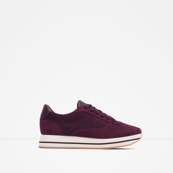 Felt Jogging Shoes - predominant colour: purple; occasions: casual; heel height: flat; toe: round toe; style: trainers; finish: plain; pattern: plain; material: faux suede; shoe detail: moulded soul; season: a/w 2015; wardrobe: highlight