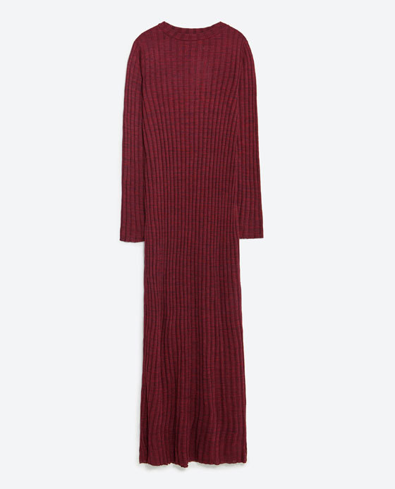 Long Dress - neckline: round neck; pattern: plain; style: maxi dress; predominant colour: burgundy; occasions: casual, creative work; length: floor length; fit: body skimming; sleeve length: long sleeve; sleeve style: standard; texture group: knits/crochet; pattern type: fabric; season: a/w 2015; wardrobe: highlight