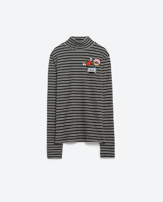 Top With Patches - pattern: horizontal stripes; neckline: high neck; style: t-shirt; predominant colour: mid grey; secondary colour: black; occasions: casual; length: standard; fibres: cotton - 100%; fit: straight cut; sleeve length: long sleeve; sleeve style: standard; pattern type: fabric; pattern size: standard; texture group: jersey - stretchy/drapey; season: a/w 2015; wardrobe: basic