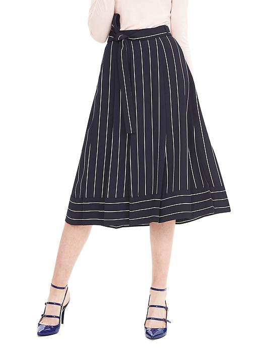 Pinstripe Midi Skirt Preppy Navy - length: below the knee; pattern: striped; style: full/prom skirt; fit: loose/voluminous; waist: high rise; waist detail: belted waist/tie at waist/drawstring; secondary colour: white; predominant colour: navy; occasions: work, occasion; fibres: polyester/polyamide - 100%; pattern type: fabric; texture group: other - light to midweight; pattern size: big & busy (bottom); season: a/w 2015; wardrobe: highlight