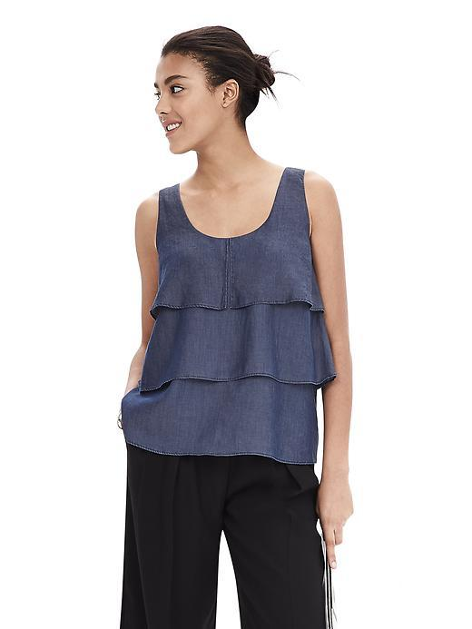 Denim Layered Ruffle Sleeveless Top Dark Wash - neckline: round neck; pattern: plain; sleeve style: sleeveless; waist detail: flattering waist detail; predominant colour: denim; occasions: casual; length: standard; style: top; fibres: viscose/rayon - 100%; fit: body skimming; sleeve length: sleeveless; bust detail: bulky details at bust; pattern type: fabric; texture group: other - light to midweight; season: a/w 2015; wardrobe: highlight