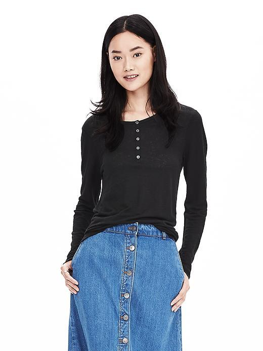 Linen Henley Black - neckline: round neck; pattern: plain; style: t-shirt; predominant colour: black; occasions: casual; length: standard; fibres: linen - 100%; fit: body skimming; sleeve length: long sleeve; sleeve style: standard; texture group: linen; pattern type: fabric; season: a/w 2015; wardrobe: basic; embellishment location: bust