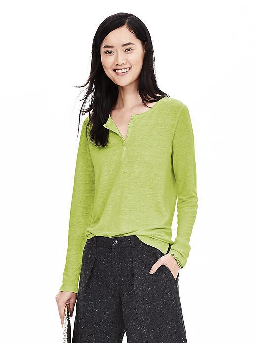 Linen Henley Neon Yellow - neckline: round neck; pattern: plain; style: t-shirt; bust detail: buttons at bust (in middle at breastbone)/zip detail at bust; predominant colour: lime; occasions: casual; length: standard; fibres: linen - 100%; fit: loose; sleeve length: long sleeve; sleeve style: standard; texture group: linen; pattern type: fabric; season: a/w 2015; wardrobe: highlight