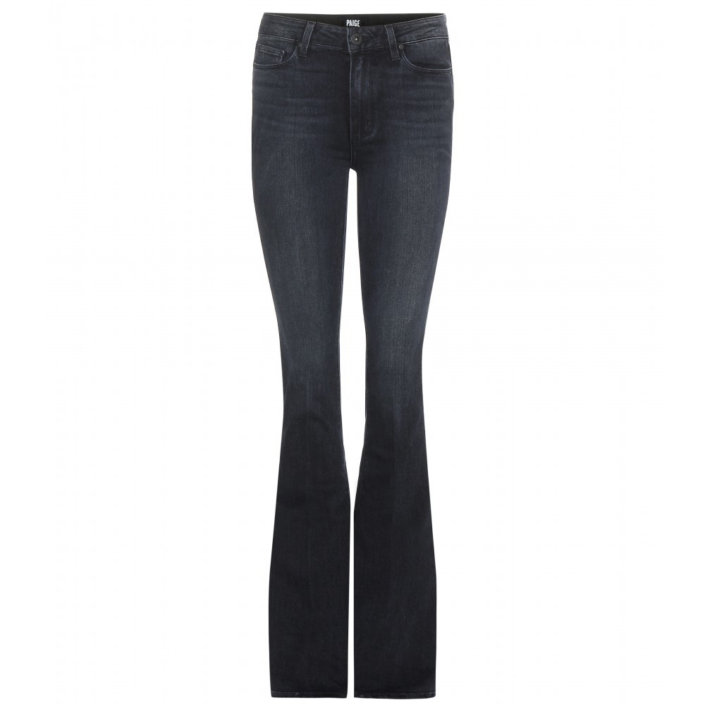 High Rise Bell Canyon Jeans - style: flares; length: standard; pattern: plain; pocket detail: traditional 5 pocket; waist: mid/regular rise; predominant colour: charcoal; occasions: casual; fibres: cotton - mix; jeans detail: dark wash; texture group: denim; pattern type: fabric; season: a/w 2015; wardrobe: highlight