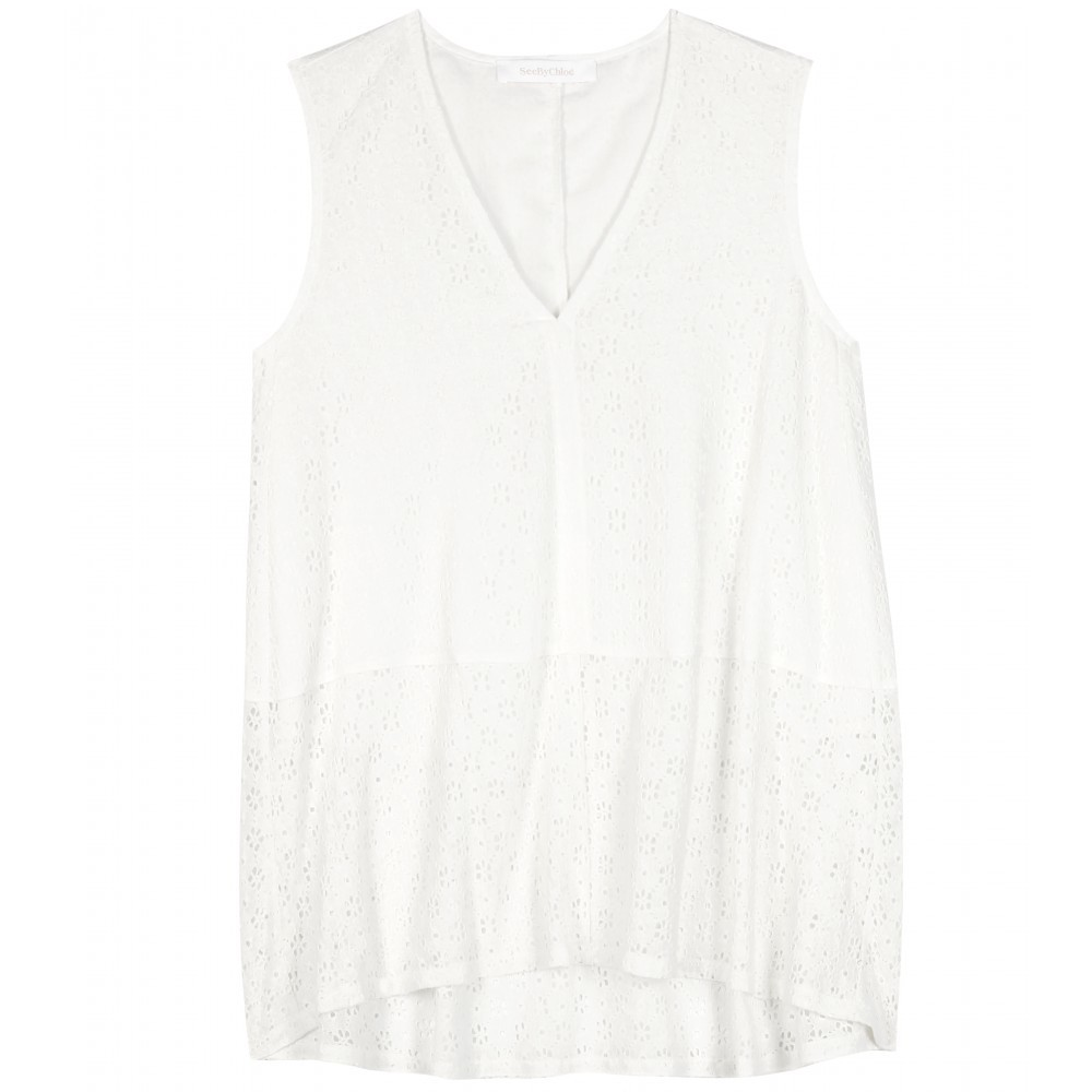 Cotton Blend Lace Top - neckline: v-neck; pattern: plain; sleeve style: sleeveless; length: below the bottom; predominant colour: white; occasions: casual, creative work; style: top; fibres: cotton - mix; fit: loose; back detail: longer hem at back than at front; sleeve length: sleeveless; pattern type: fabric; texture group: jersey - stretchy/drapey; embellishment: lace; season: a/w 2015; wardrobe: highlight