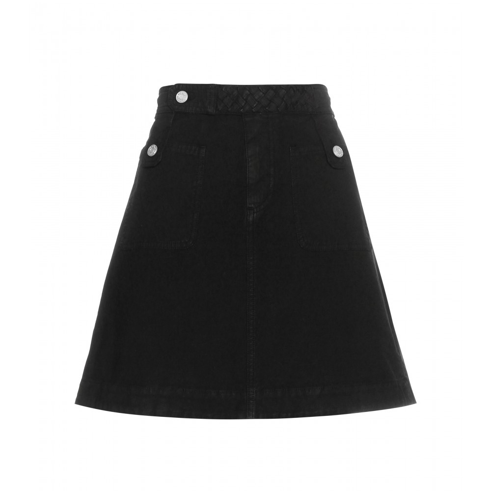 Cotton Skirt - length: mid thigh; pattern: plain; fit: loose/voluminous; waist: high rise; predominant colour: black; occasions: casual, work, creative work; style: a-line; fibres: cotton - 100%; texture group: cotton feel fabrics; pattern type: fabric; season: a/w 2015; wardrobe: basic