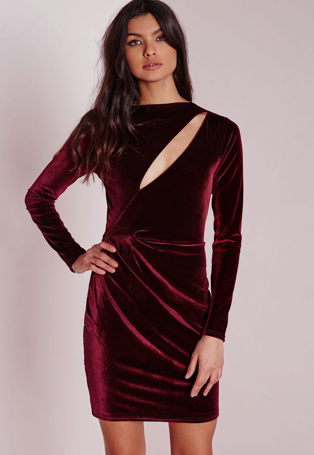 Velvet Long Sleeve Bodycon Dress Burgundy, Burgundy - length: mid thigh; neckline: slash/boat neckline; pattern: plain; style: bodycon; predominant colour: burgundy; occasions: evening; fit: body skimming; fibres: polyester/polyamide - stretch; sleeve length: long sleeve; sleeve style: standard; pattern type: fabric; texture group: velvet/fabrics with pile; season: a/w 2015; wardrobe: event