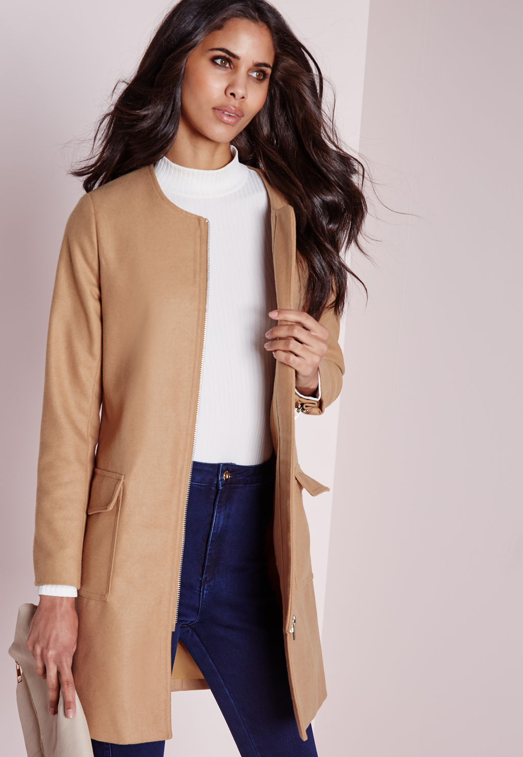 Collarless Zip Wool Jacket Camel, Beige - pattern: plain; style: single breasted blazer; collar: round collar/collarless; fit: slim fit; predominant colour: camel; occasions: casual, work, creative work; fibres: wool - 100%; length: mid thigh; sleeve length: long sleeve; sleeve style: standard; collar break: low/open; pattern type: fabric; texture group: woven light midweight; season: a/w 2015; wardrobe: basic