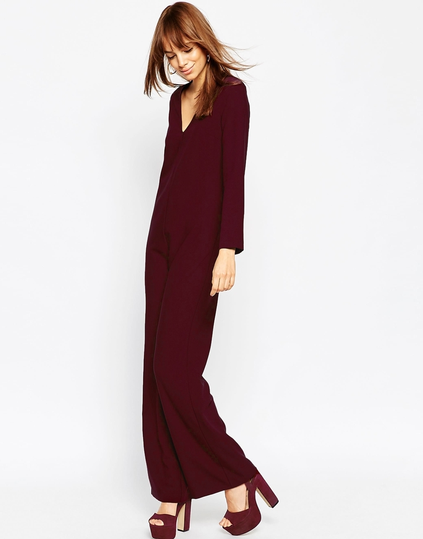 Clean Jumpsuit With V Neck Aubergine - neckline: plunge; pattern: plain; predominant colour: burgundy; occasions: evening; length: ankle length; fit: straight cut; fibres: cotton - 100%; sleeve length: long sleeve; sleeve style: standard; style: jumpsuit; pattern type: fabric; texture group: woven light midweight; season: a/w 2015