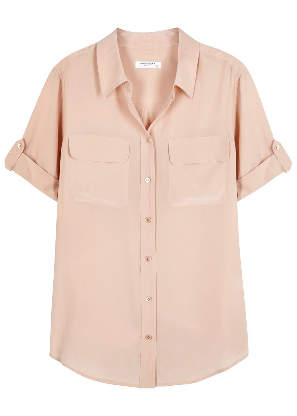 Slim Signature Blush Washed Silk Shirt - neckline: shirt collar/peter pan/zip with opening; pattern: plain; style: shirt; predominant colour: blush; occasions: casual; length: standard; fibres: silk - 100%; fit: body skimming; sleeve length: short sleeve; sleeve style: standard; texture group: crepes; bust detail: bulky details at bust; pattern type: fabric; season: a/w 2015; wardrobe: basic