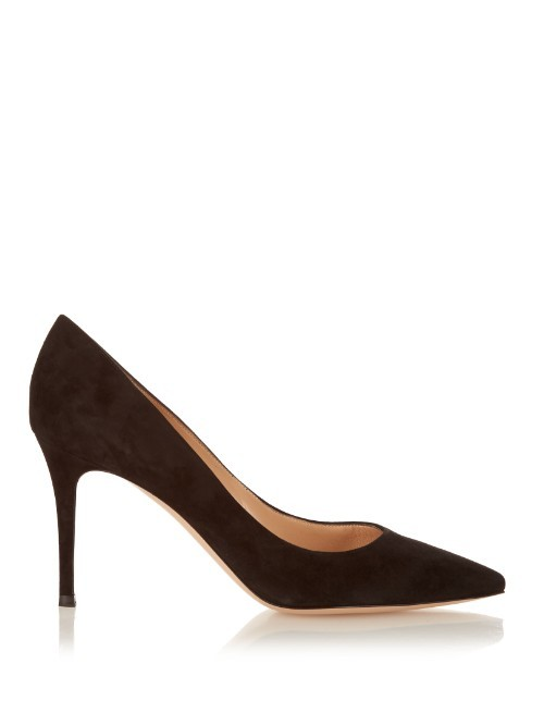 Gianvito Point Toe Suede Pumps - predominant colour: black; occasions: evening, occasion; material: suede; heel: stiletto; toe: pointed toe; style: courts; finish: plain; pattern: plain; heel height: very high; season: a/w 2015; wardrobe: event