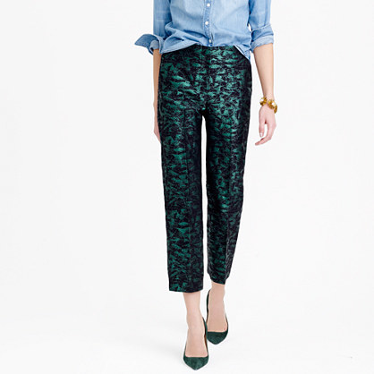 Petite Patio Pant In Evergreen Jacquard - waist: mid/regular rise; predominant colour: emerald green; secondary colour: black; length: ankle length; fibres: cotton - mix; fit: skinny/tight leg; pattern type: fabric; pattern: patterned/print; texture group: other - light to midweight; style: standard; embellishment: sequins; occasions: creative work; season: a/w 2015