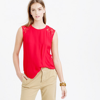 Petite Floral Lace Shoulder Top - pattern: plain; sleeve style: sleeveless; predominant colour: true red; occasions: casual; length: standard; style: top; fibres: polyester/polyamide - 100%; fit: body skimming; neckline: crew; sleeve length: sleeveless; pattern type: fabric; texture group: other - light to midweight; shoulder detail: sheer at shoulder; season: a/w 2015