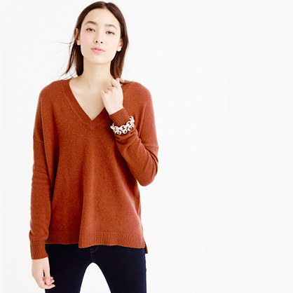 Petite V Neck Tunic Sweater - neckline: low v-neck; pattern: plain; style: standard; predominant colour: terracotta; occasions: casual, creative work; length: standard; fibres: cotton - mix; fit: loose; sleeve length: long sleeve; sleeve style: standard; texture group: knits/crochet; pattern type: knitted - fine stitch; season: a/w 2015; wardrobe: highlight