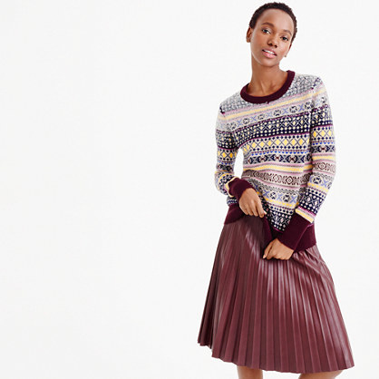 Sequin Fair Isle Sweater - pattern: horizontal stripes; style: standard; predominant colour: burgundy; secondary colour: light grey; occasions: casual; length: standard; fibres: wool - 100%; fit: standard fit; neckline: crew; sleeve length: long sleeve; sleeve style: standard; texture group: knits/crochet; pattern type: knitted - fine stitch; pattern size: standard; embellishment: sequins; multicoloured: multicoloured; season: a/w 2015; wardrobe: highlight
