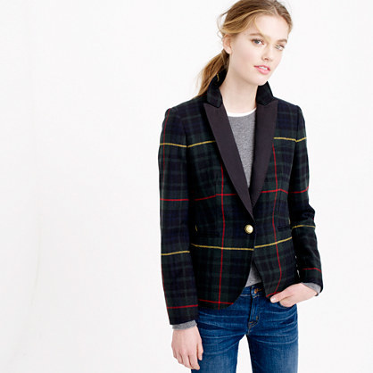 Petite Collection Campbell Blazer In Tartan - pattern: checked/gingham; style: single breasted blazer; collar: shawl/waterfall; secondary colour: true red; predominant colour: black; occasions: casual, creative work; length: standard; fit: tailored/fitted; fibres: wool - 100%; sleeve length: long sleeve; sleeve style: standard; collar break: medium; pattern type: fabric; pattern size: standard; texture group: woven light midweight; multicoloured: multicoloured; season: a/w 2015; wardrobe: highlight