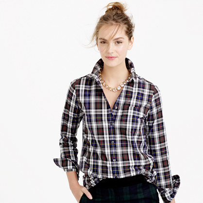 Petite Shrunken Boy Shirt In Forest Plaid - neckline: shirt collar/peter pan/zip with opening; pattern: checked/gingham; style: shirt; secondary colour: white; predominant colour: tan; occasions: casual; length: standard; fibres: cotton - 100%; fit: body skimming; sleeve length: long sleeve; sleeve style: standard; texture group: cotton feel fabrics; pattern type: fabric; pattern size: standard; multicoloured: multicoloured; season: a/w 2015