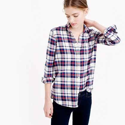 Petite Boy Shirt In Clinton Plaid - neckline: shirt collar/peter pan/zip with opening; pattern: checked/gingham; style: shirt; predominant colour: white; secondary colour: navy; occasions: casual; length: standard; fibres: cotton - 100%; fit: body skimming; sleeve length: 3/4 length; sleeve style: standard; texture group: cotton feel fabrics; pattern type: fabric; multicoloured: multicoloured; season: a/w 2015; wardrobe: highlight
