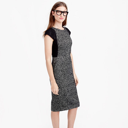 Tweed Sheath Dress With Lace - style: shift; length: below the knee; fit: tailored/fitted; pattern: plain; predominant colour: charcoal; secondary colour: black; occasions: work, creative work; fibres: wool - mix; neckline: crew; sleeve length: short sleeve; sleeve style: standard; pattern type: fabric; texture group: tweed - light/midweight; embellishment: lace; multicoloured: multicoloured; season: a/w 2015; wardrobe: highlight