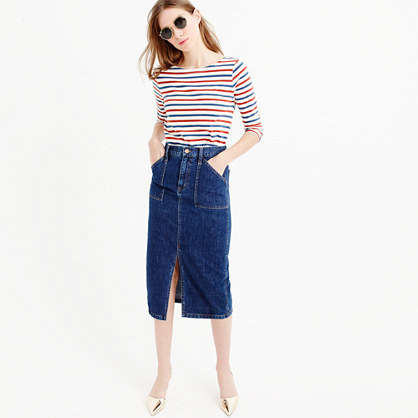 Denim Front Slit Skirt - length: below the knee; pattern: plain; style: straight; fit: tailored/fitted; waist: high rise; hip detail: draws attention to hips; predominant colour: navy; occasions: casual; fibres: cotton - stretch; texture group: denim; pattern type: fabric; season: a/w 2015; wardrobe: basic