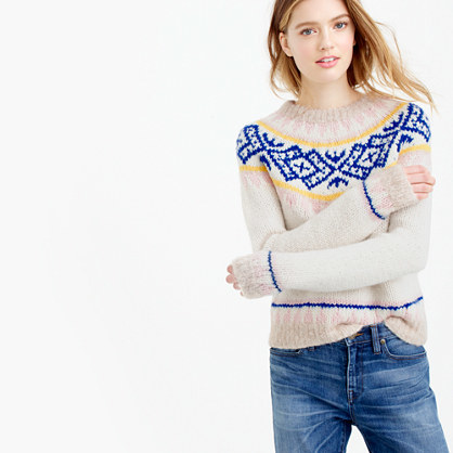 Collection Fair Isle Sweater In Italian Yarn - neckline: high neck; style: standard; secondary colour: royal blue; predominant colour: stone; occasions: casual, creative work; length: standard; fibres: wool - 100%; fit: standard fit; pattern: fairisle; sleeve length: long sleeve; sleeve style: standard; texture group: knits/crochet; pattern type: knitted - other; pattern size: standard; season: a/w 2015