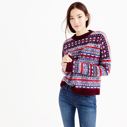 Fair Isle Crewneck Sweater - style: standard; secondary colour: burgundy; predominant colour: royal blue; occasions: casual, creative work; length: standard; fibres: cotton - 100%; fit: loose; neckline: crew; pattern: fairisle; sleeve length: long sleeve; sleeve style: standard; texture group: knits/crochet; pattern type: knitted - other; pattern size: standard; multicoloured: multicoloured; season: a/w 2015