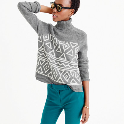 Fair Isle Classic Turtleneck Sweater - neckline: roll neck; style: standard; secondary colour: white; predominant colour: mid grey; occasions: casual, creative work; length: standard; fibres: cotton - 100%; fit: standard fit; sleeve length: long sleeve; sleeve style: standard; texture group: knits/crochet; pattern type: knitted - other; pattern size: standard; pattern: patterned/print; season: a/w 2015