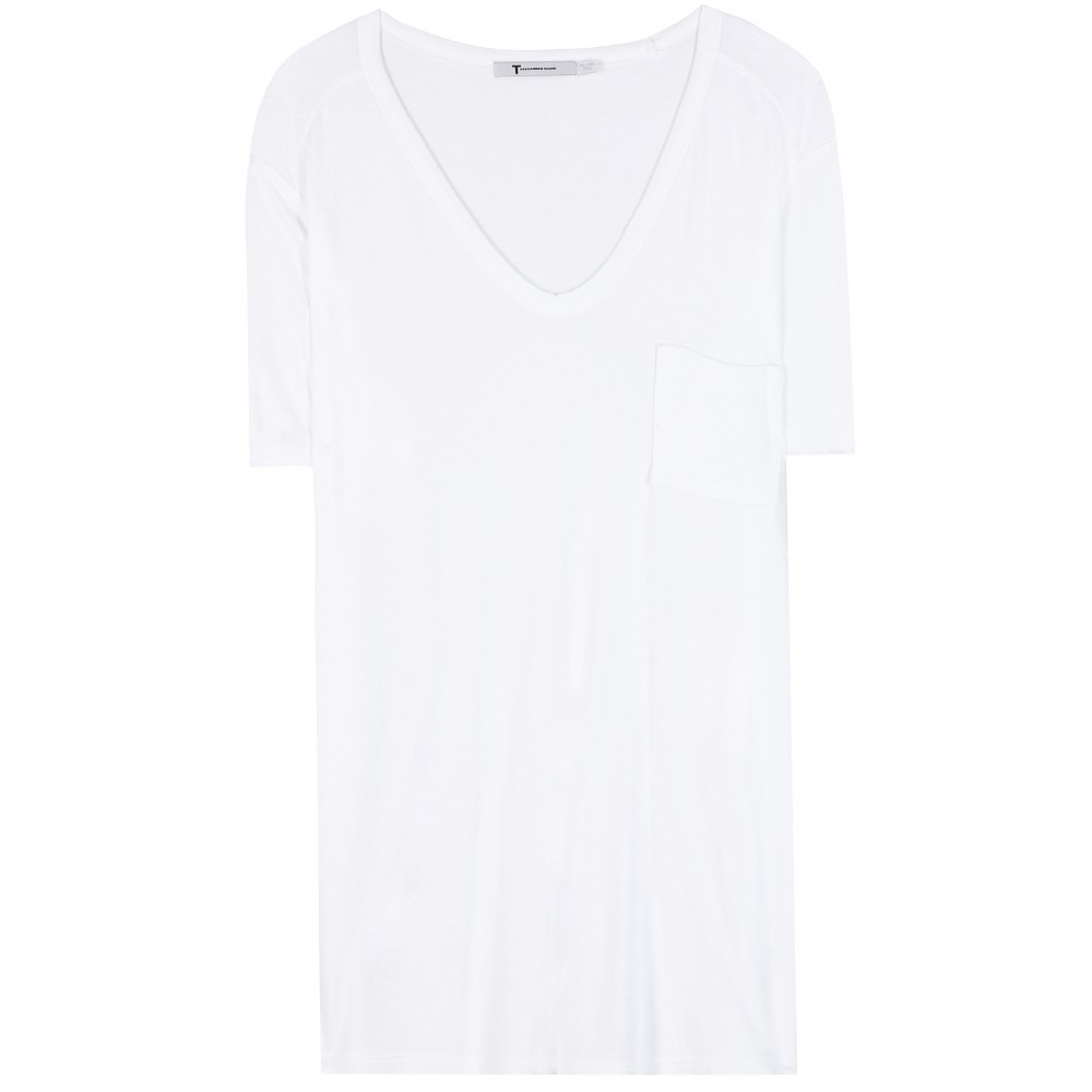 Classic Jersey T Shirt - neckline: v-neck; pattern: plain; length: below the bottom; style: t-shirt; predominant colour: white; occasions: casual; fibres: viscose/rayon - 100%; fit: body skimming; sleeve length: short sleeve; sleeve style: standard; pattern type: fabric; texture group: jersey - stretchy/drapey; season: a/w 2015; wardrobe: basic