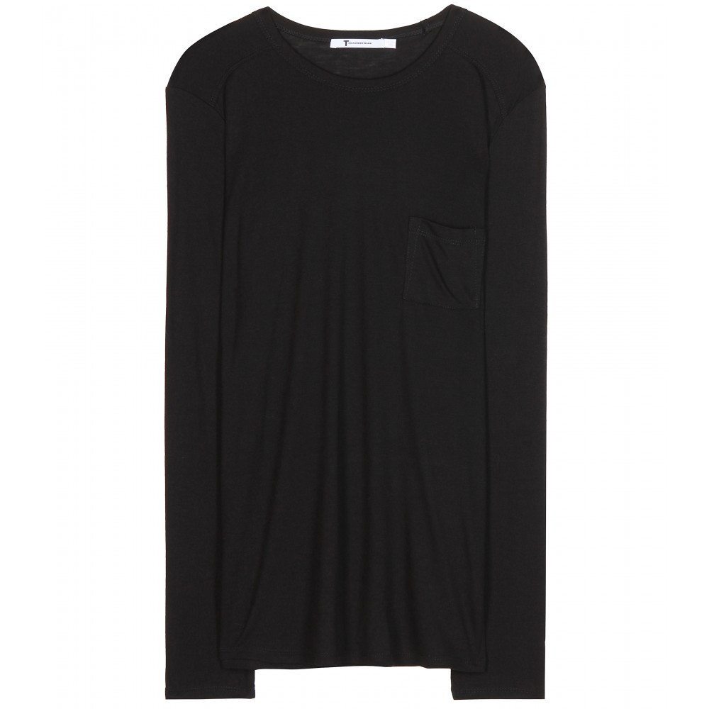 Classic Long Sleeved Top - pattern: plain; style: t-shirt; predominant colour: black; occasions: casual, creative work; length: standard; fibres: cotton - stretch; fit: loose; neckline: crew; sleeve length: long sleeve; sleeve style: standard; pattern type: fabric; texture group: jersey - stretchy/drapey; season: a/w 2015; wardrobe: basic