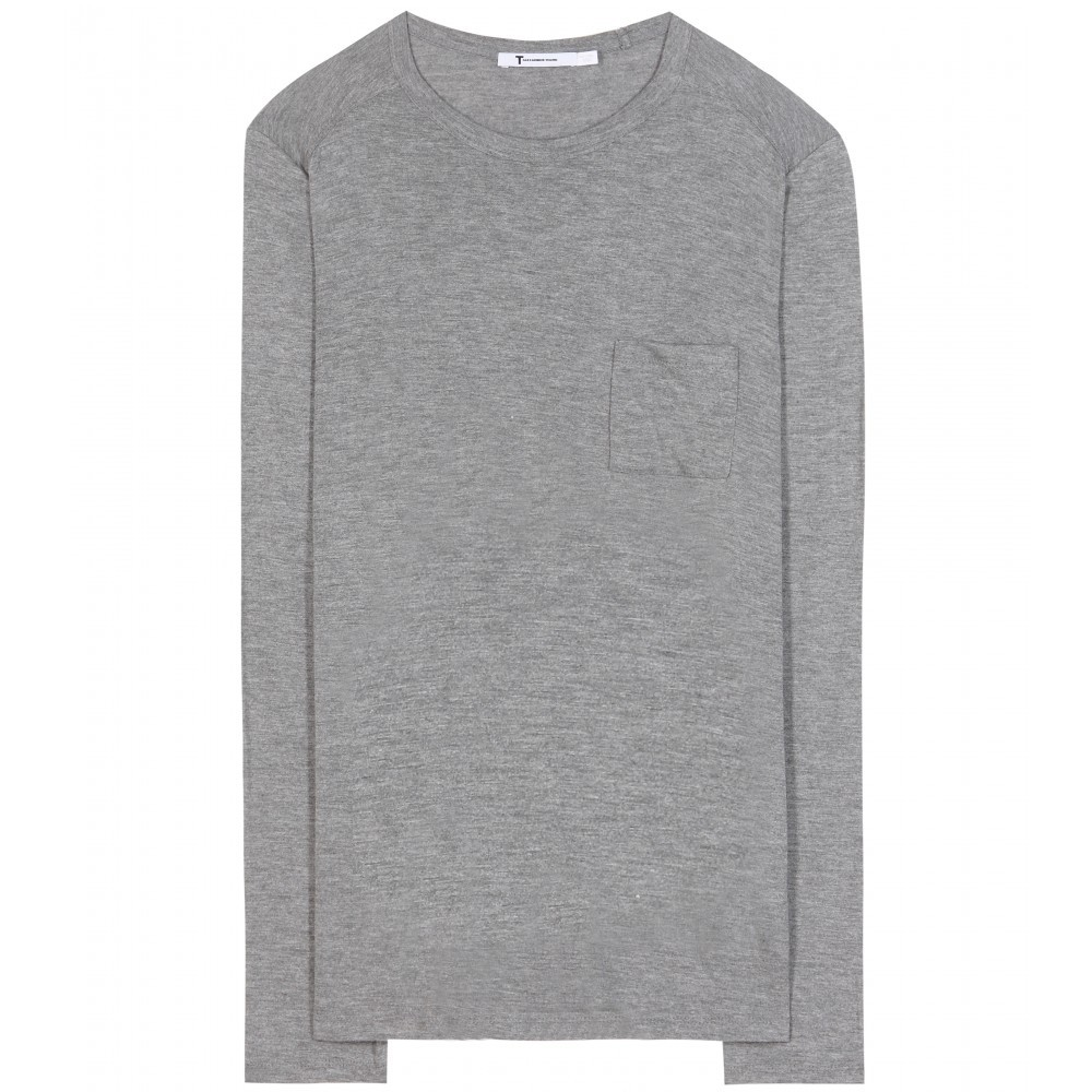 Classic Long Sleeved Jersey Top - style: t-shirt; predominant colour: mid grey; occasions: casual; length: standard; fibres: cotton - stretch; fit: body skimming; neckline: crew; sleeve length: long sleeve; sleeve style: standard; texture group: jersey - clingy; pattern type: fabric; pattern: marl; season: a/w 2015; wardrobe: basic