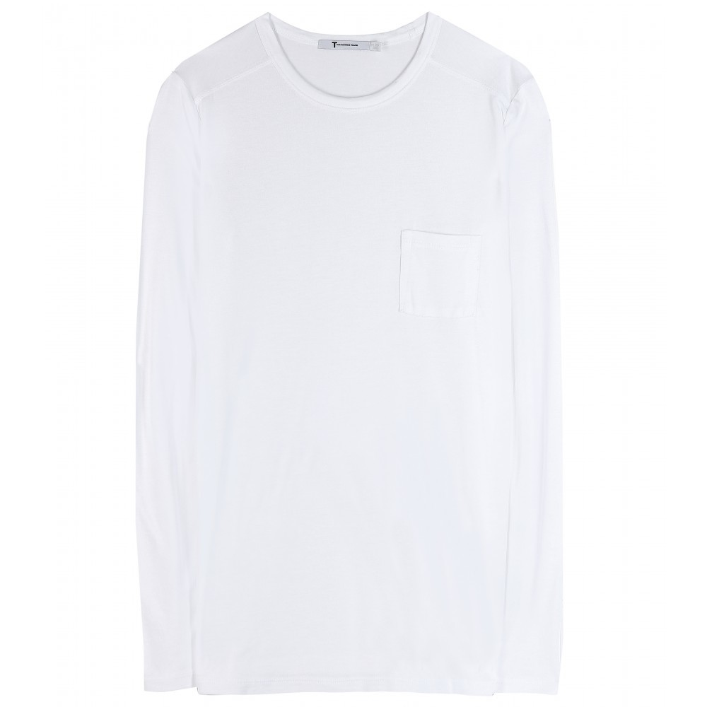 Classic Long Sleeved Jersey Top - pattern: plain; style: t-shirt; predominant colour: white; occasions: casual; length: standard; fibres: cotton - stretch; fit: loose; neckline: crew; sleeve length: long sleeve; sleeve style: standard; pattern type: fabric; texture group: jersey - stretchy/drapey; season: a/w 2015; wardrobe: basic