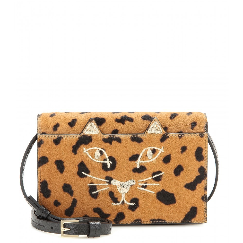 Feline Calf Hair Shoulder Purse - predominant colour: stone; secondary colour: black; occasions: casual; type of pattern: standard; style: shoulder; length: across body/long; size: small; material: animal skin; embellishment: embroidered; pattern: animal print; finish: plain; season: a/w 2015; wardrobe: highlight; trends: opulent prints