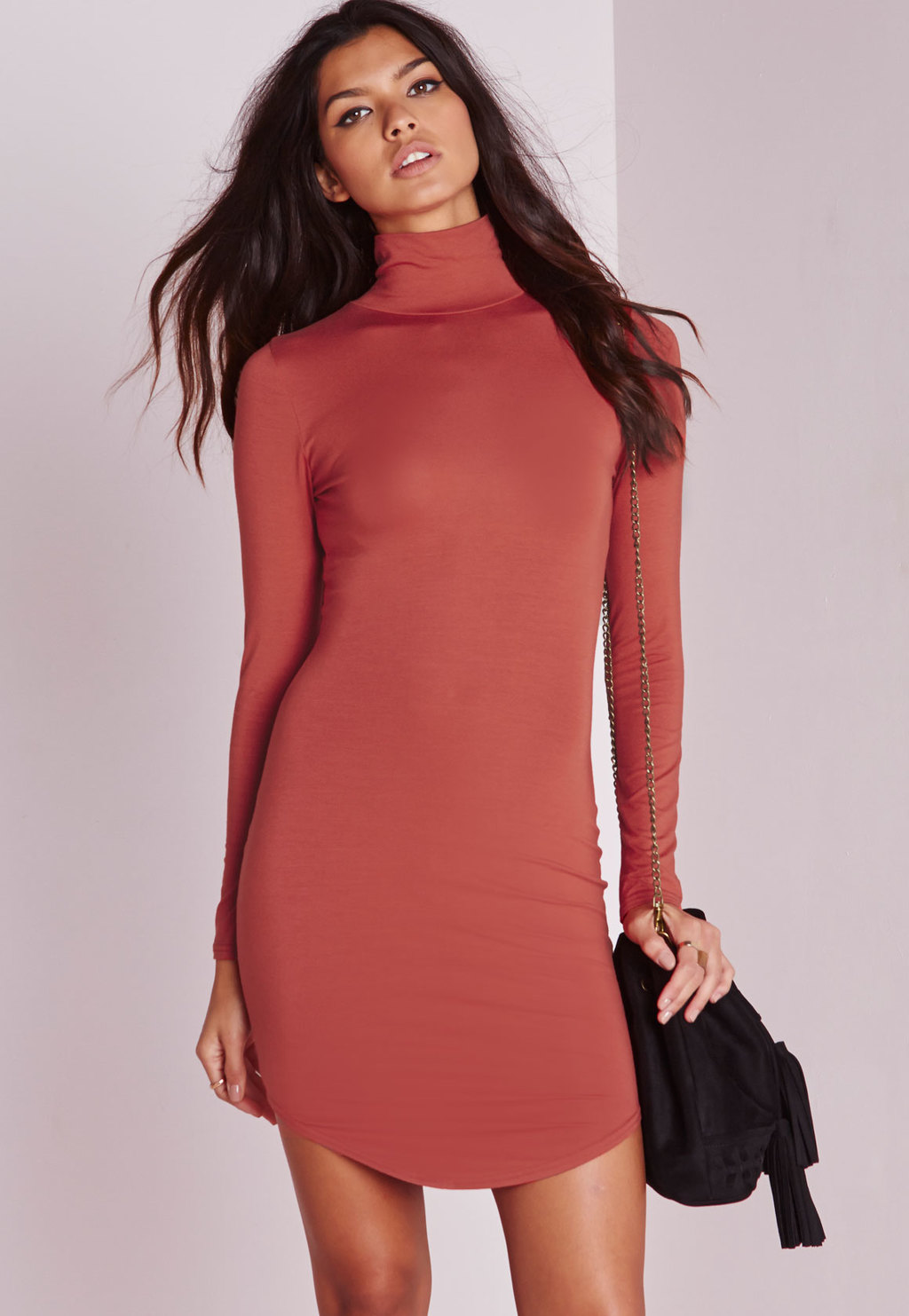 Petite Curve Hem Roll Neck Bodycon Dress Rust, Brown - length: mid thigh; fit: tight; pattern: plain; style: bodycon; neckline: roll neck; predominant colour: terracotta; occasions: evening; fibres: polyester/polyamide - stretch; sleeve length: long sleeve; sleeve style: standard; texture group: jersey - clingy; pattern type: fabric; season: a/w 2015; wardrobe: event
