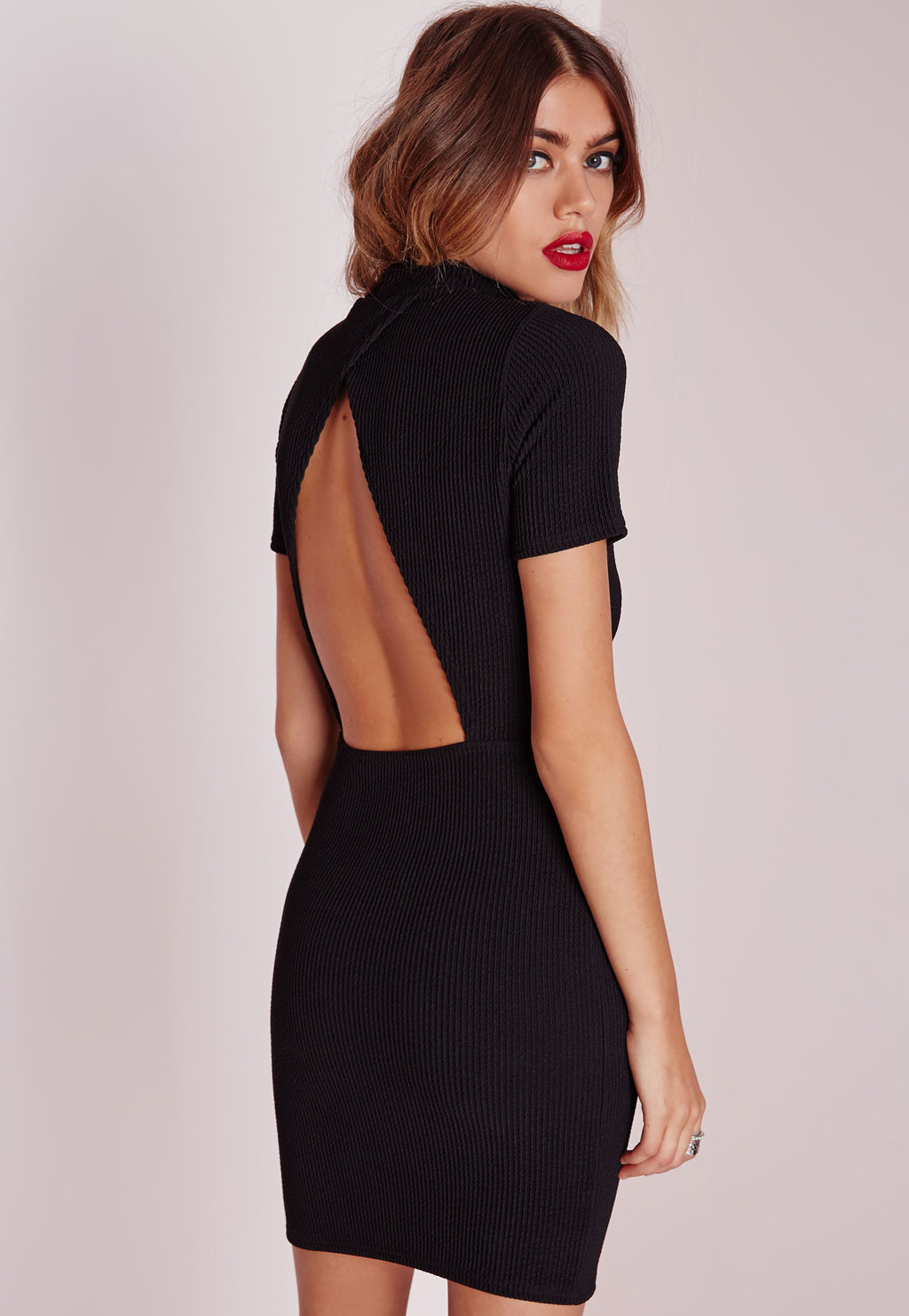 Wrap Back Ribbed Bodycon Dress Black, Black - length: mid thigh; fit: tight; pattern: plain; neckline: high neck; style: bodycon; back detail: back revealing; predominant colour: black; occasions: evening; fibres: polyester/polyamide - stretch; sleeve length: short sleeve; sleeve style: standard; texture group: jersey - clingy; pattern type: fabric; season: a/w 2015; wardrobe: event