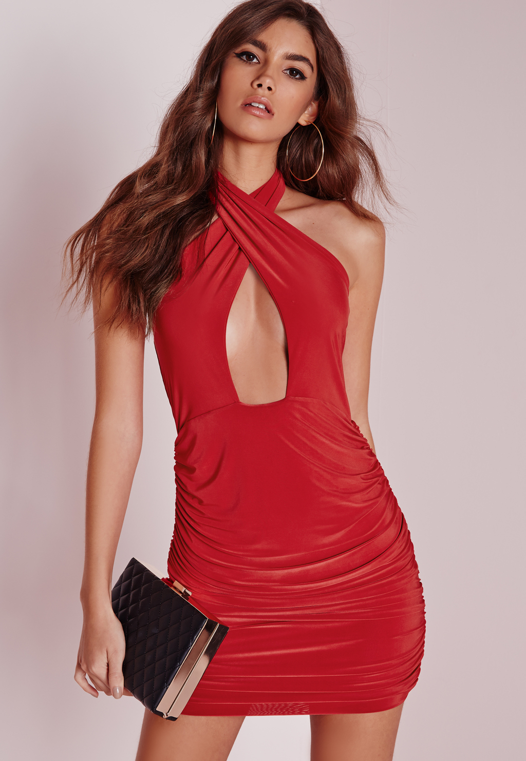 Slinky Halter Ruche Bodycon Dress Red, Red - length: mini; fit: tight; pattern: plain; sleeve style: sleeveless; style: bodycon; neckline: low halter neck; back detail: back revealing; predominant colour: true red; occasions: evening; fibres: polyester/polyamide - stretch; sleeve length: sleeveless; texture group: jersey - clingy; pattern type: fabric; season: a/w 2015; wardrobe: event