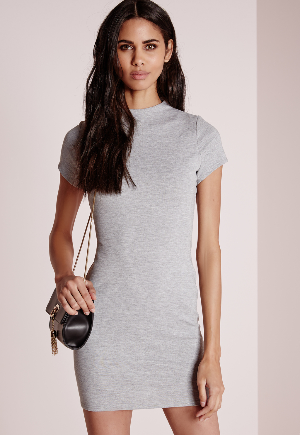 High Neck Bodycon Dress Grey Marl, Ice Grey - style: shift; length: mid thigh; pattern: plain; predominant colour: light grey; occasions: casual, evening; fit: body skimming; fibres: polyester/polyamide - stretch; neckline: crew; sleeve length: short sleeve; sleeve style: standard; pattern type: fabric; texture group: jersey - stretchy/drapey; season: a/w 2015; wardrobe: basic