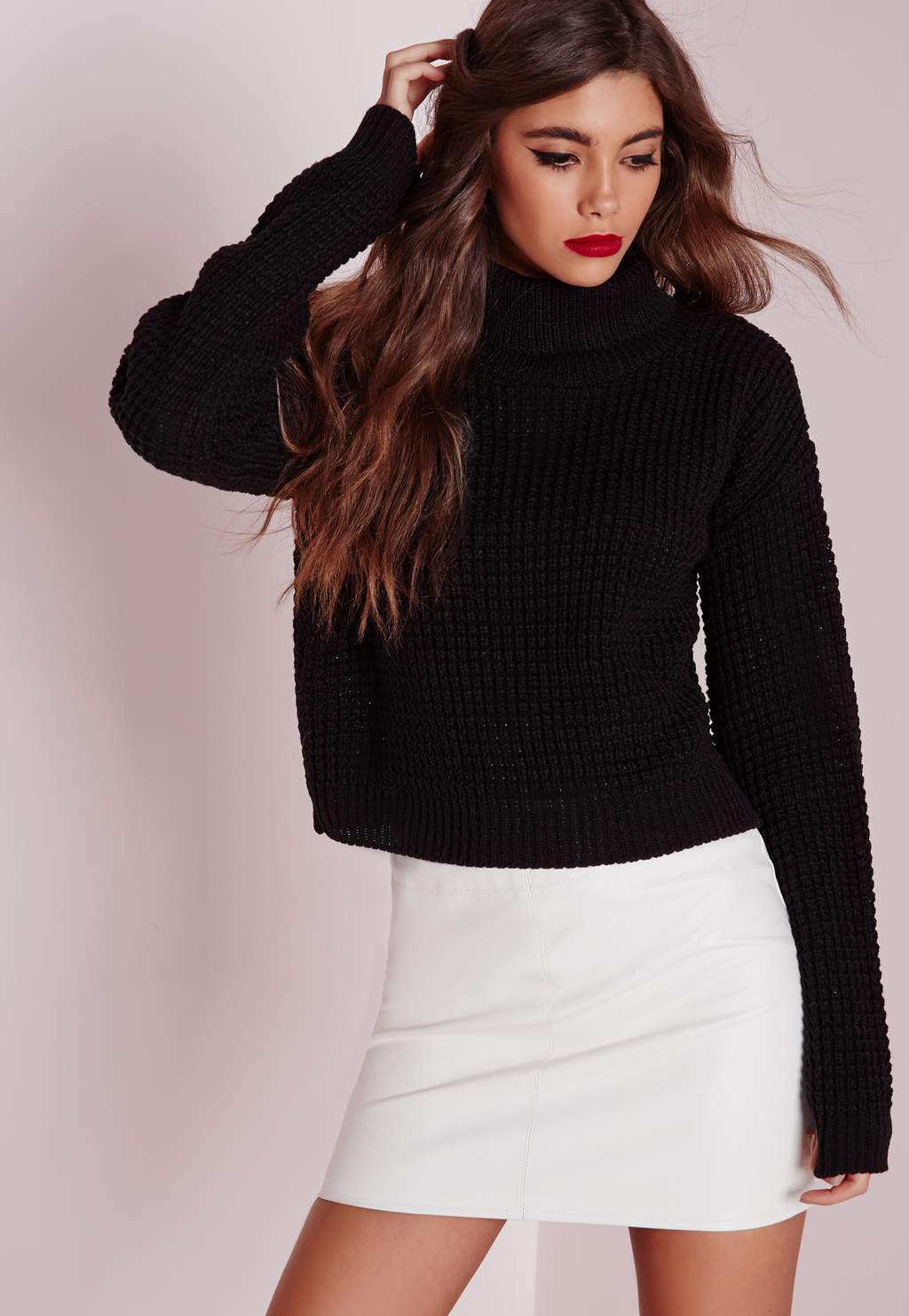 Fisherman Stitch Roll Neck Jumper Black, Black - pattern: plain; neckline: roll neck; style: standard; predominant colour: black; occasions: casual, creative work; length: standard; fibres: acrylic - 100%; fit: standard fit; sleeve length: long sleeve; sleeve style: standard; texture group: knits/crochet; pattern type: knitted - other; season: a/w 2015; wardrobe: basic