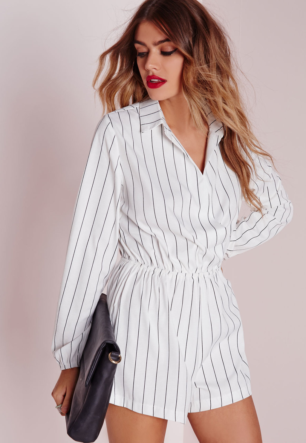 Stripe Wrap Front Shirt Playsuit Monochrome, White - neckline: shirt collar/peter pan/zip with opening; fit: tailored/fitted; pattern: striped; waist detail: elasticated waist; length: short shorts; predominant colour: white; occasions: casual, creative work; fibres: polyester/polyamide - 100%; sleeve length: long sleeve; sleeve style: standard; style: playsuit; pattern type: fabric; pattern size: standard; texture group: other - light to midweight; season: a/w 2015