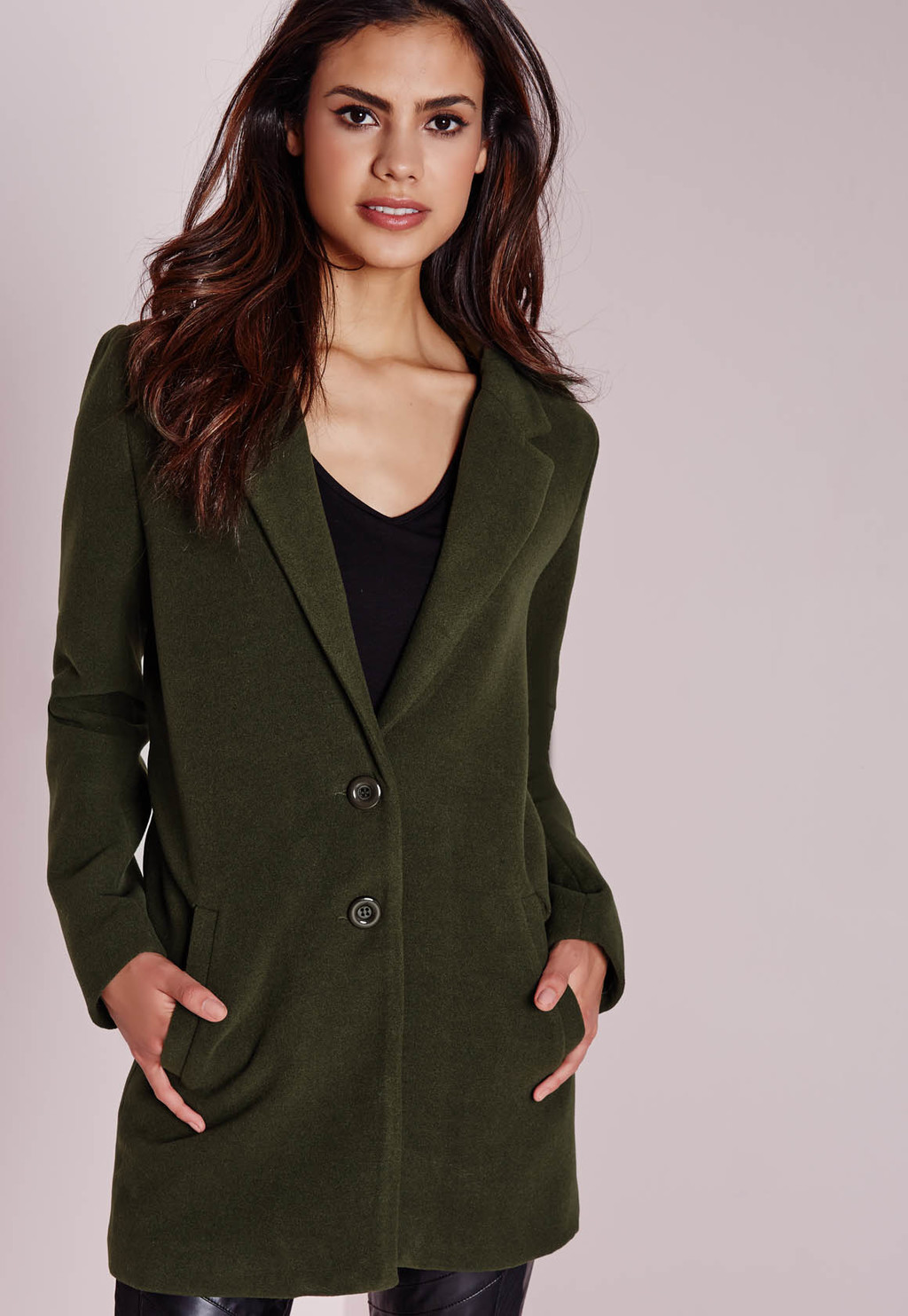 Short Faux Wool Coat Khaki, Beige - pattern: plain; style: single breasted; collar: standard lapel/rever collar; length: mid thigh; predominant colour: khaki; occasions: casual, work, creative work; fit: tailored/fitted; fibres: wool - 100%; sleeve length: long sleeve; sleeve style: standard; collar break: medium; pattern type: fabric; texture group: woven light midweight; season: a/w 2015