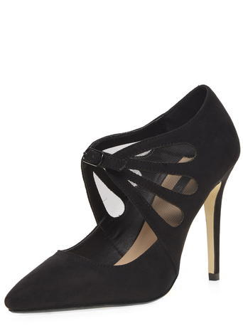 Womens Black 'elektra' Mesh Court Shoes Black - predominant colour: black; occasions: evening, occasion; material: suede; heel height: high; ankle detail: ankle strap; heel: stiletto; toe: pointed toe; style: courts; finish: plain; pattern: plain; season: a/w 2015; wardrobe: event
