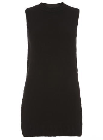 Womens Black Tab Side Tabbard Black - pattern: plain; sleeve style: sleeveless; length: below the bottom; predominant colour: black; occasions: casual, creative work; style: top; fibres: acrylic - mix; fit: body skimming; neckline: crew; sleeve length: sleeveless; pattern type: fabric; texture group: jersey - stretchy/drapey; season: a/w 2015