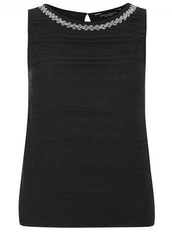Womens Black Frill Bling Lace Shell Black - neckline: round neck; pattern: plain; sleeve style: sleeveless; predominant colour: black; occasions: evening; length: standard; style: top; fibres: nylon - mix; fit: body skimming; sleeve length: sleeveless; texture group: cotton feel fabrics; pattern type: fabric; embellishment: sequins; season: a/w 2015